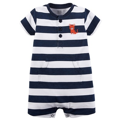 Just One You™Made by Carter's® Baby Boys' Tiger Stripe Knit Romper - Navy/White 3M
