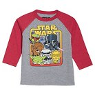 Toddler Boys' Star Wars Long Sleeve Raglan T-Shirt - Athletic Heather & Red