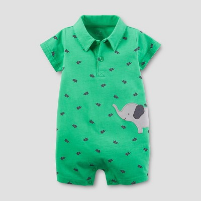 Just One You™Made by Carter's® Baby Boys' Elephant Knit Polo Romper - Green 3M