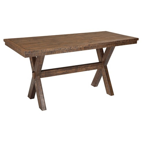 Walnord Rectangular Dining Room Counter Table Wood Rustic Brown