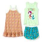 Komar Kids Girls' Fish 3-Piece Pajama Set - Multi-Colored