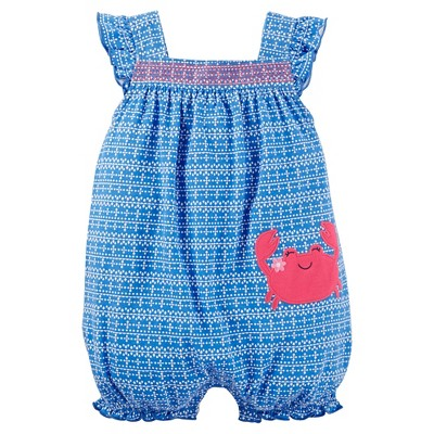 Just One You™Made by Carter's® Baby Girls' Crab Print Ruffle Romper - Light Blue 3M