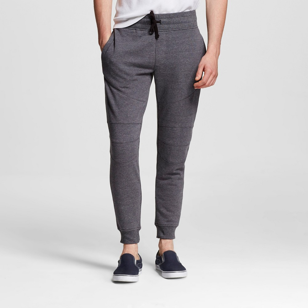 Men's Knit Moto Jogger Pants Heather Charcoal/Grey M - Modern Threads by Well Versed, Size: Medium