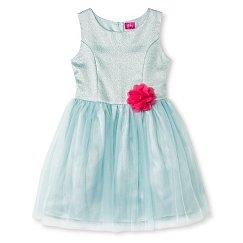Girls' Pinky Metallic Dress - Blue