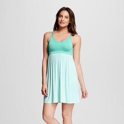 Women's Nursing Fluid Knit Sleep Chemise Aqua L - Gilligan & O'Malley™