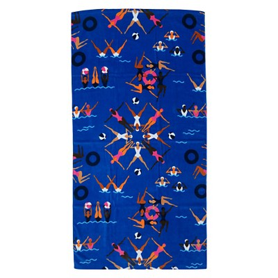 Synchro Beach Towel Blue - Evergreen