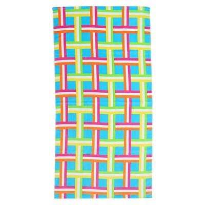 Basketweave Beach Towel Multi-Colored - Evergreen