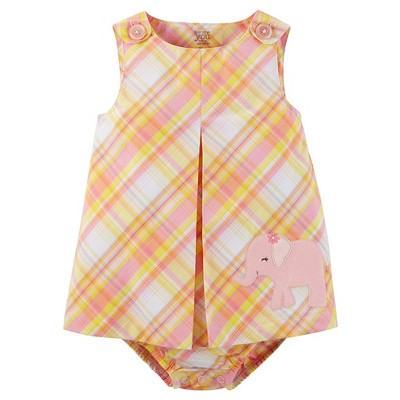 Just One You™Made by Carter's® Baby Girls' Plaid Elephant Sunsuit - Pink/Yellow 9M