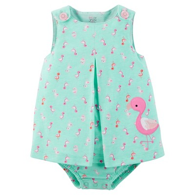 Just One You™Made by Carter's® Baby Girls' Flamingo Sunsuit - Pink/Green NB