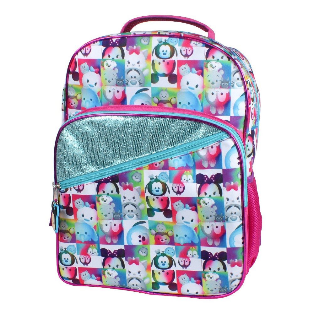 "Disney 16"" Tsum Tsum Multi-Compartment Kids Backpack - Pink/Purple,  Multi-Colored"