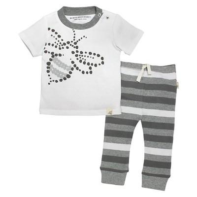 Burt's Bees Baby™ Baby Tee & Pant Set - Stripe/Heather Grey  NB