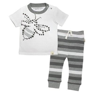 Burt's Bees Baby™ Baby Tee & Pant Set - Stripe/Heather Grey  0-3 M