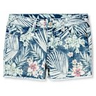 Girls' Floral Pattern Mid Rise Jean Shorts - Denim Blue - Cherokee®