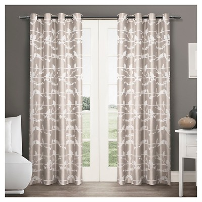 "Exclusive Home Lovebirds Curtain Panels - Set of 2 Panels -  Natural - 54""x84"""