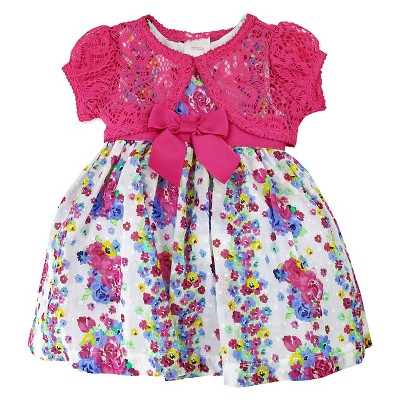 Young Hearts Baby Girls' Floral Shrug and Dress Set - Pink/White 12M