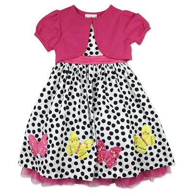 Young Hearts Baby Girls' Polka Dots Shrug and Dress Set - Pink/White 18M