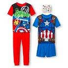 Captain America Avengers Boys' 4-Piece Pajama Set - Multicolored 4