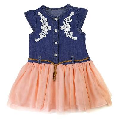 Young Hearts Baby Girls' Denim Bodice Dress - Blue 12M