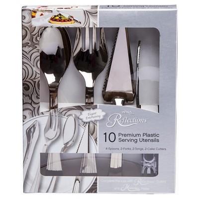 10 Piece Hostess Reflections Plastic Serving Utensils Set (4 Serving Spoons, 2 Serving Forks, 2 Pie Servers, 2 Serving Tongs)