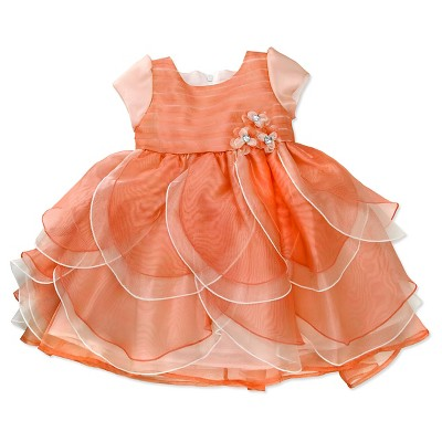 Young Hearts Baby Girls' Petal Sleeveless Dress - Orange 18M
