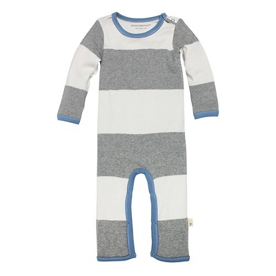 Burt's Bees Baby Infant Boys' Striped Coverall - 3-6M Heather Grey