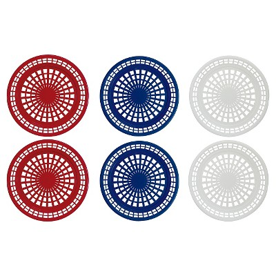Evergreen 6 Piece Outdoor Picnic Plate Holder - Red, White & Blue