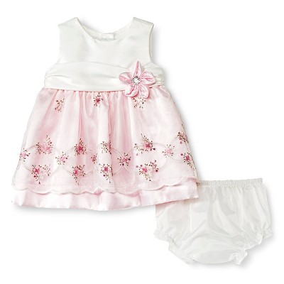 Rosenau Baby Girls' Floral with Gems Dress - 3M Pink