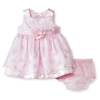 Rosenau Baby Girls' Daisy Dress - 3M Pink/White