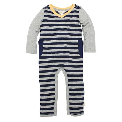 Burt's Bees Baby Infant Boys' V Neck Striped Coverall - 0-3M Heather Grey
