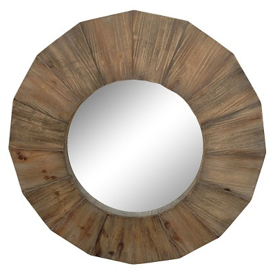 "Round Wood Mirror 28"" -Threshold™"