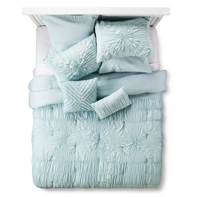 Juliette Rouched Texture Bed Set Queen Blue - 8 piece