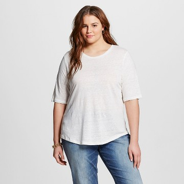 Women's Plus Size Linen T-Shirt - Who What Wear™