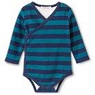Baby Nay Long Sleeve Stripes Kimono Bodysuit - Green & Navy 3 M