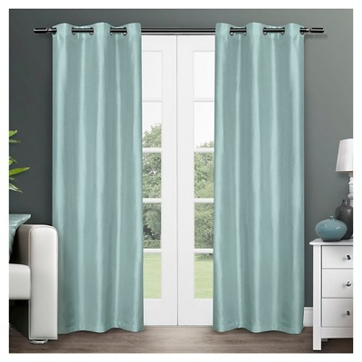 "Exclusive Home Dupioni Curtain Panels - Set of 2 Panels -  Robin Blue - 40""x84"""