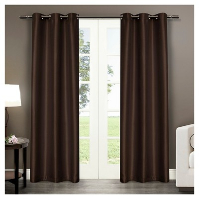 """Exclusive Home Antique Curtain Panels - Set of 2 Panels -  Chocolate - 40""""x84"""""""