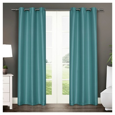 "Exclusive Home Antique Curtain Panels - Set of 2 Panels -  Teal - 40""x84"""