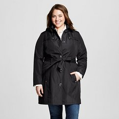 Women's Plus Size Trench Coat Black - Casual