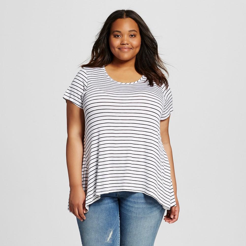Women's Plus Size Drapey Tee Black and White Stripe 4x - Mossimo Supply Co.(Juniors'), Size: 4XL, White/Black