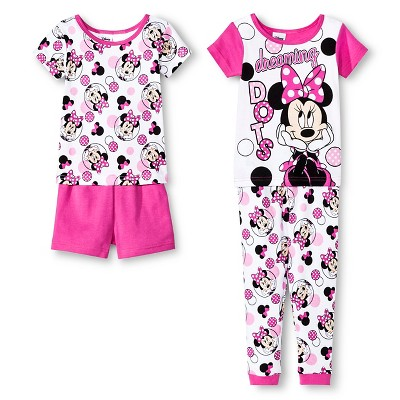 Baby Girls' Minnie Mouse Disney® Snug Fit Cotton 4-Piece Pajama Set 12M