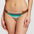 Women's Striped Bikini Bottom w/ Leather Detail Aqua - XS - MAR by Vix