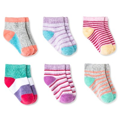 Baby Girls' 6-Pack Low Cut Socks - Multicolored 12-24M