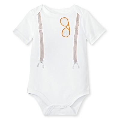 Circo™ Baby Boys'  Short Sleeve Lap Shoulder Suspender Bodysuit - Dove White 12 M