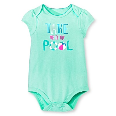 Circo™ Girls' Lap Shoulder Take me to the pool Bodysuit - Green 3-6 M