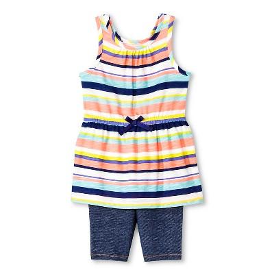 Baby Girls' 2-Piece Stripe Tunic and Legging Set White/Blue 12M - Cherokee®