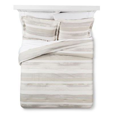 Painterly Stripe Comforter & Sham Set (Full/Queen) Gray 3pc - Nate Berkus™