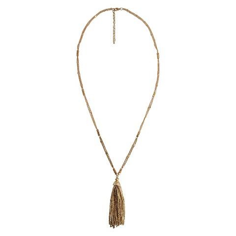 """Women's Fashion Long Necklace with Beads and Tassel - Gold (32"""")"""