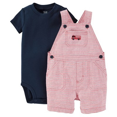 Just One You™Made by Carter's® Newborn Boys' Fire Engine Shortall - Red/Navy 6M