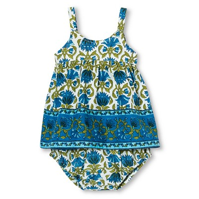 Happy by Pink Chicken Baby Girls' Border 2-Piece Set - Matisse Blue 3-6M