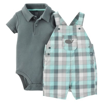 Just One You™Made by Carter's® Newborn Boys' Plaid Whale Shortall - Grey/Light Green 18M