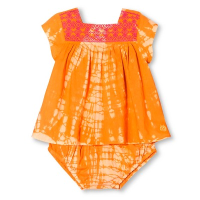 Happy by Pink Chicken Baby Girls' Tie Dye Embroidered 2-Piece Set - Citrus Orange 6-12M